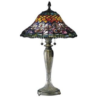 Peacock Tail Hand Rolled Glass Dale Tiffany Table Lamp   #X3761