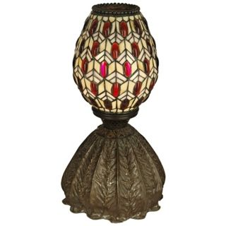 Dale Tiffany Jeweled Peacock Art Glass Accent Lamp   #X3743