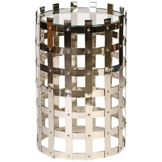 Floyd Polished Nickel Metal Strap Accent Table   #Y3151