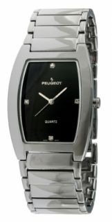 New Mens Peugeot 1018 Stainless Steel Diamond Black Dial Quartz Watch