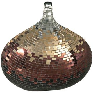 Dale Tiffany Copper Gold and Silver Mosaic Art Glass Vase   #X5063