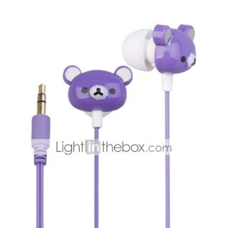 USD $ 4.99   Cute Bear Shaped Stereo Earphone Purple(3.5MM Jack/1.2M