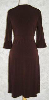 BCBG Max Azria Dark Brown Stretch Jersey Dress L Empire Twist Front 3