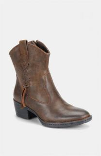 Born Karin Leather Boots Shoes Western Dark Brown Tobacco Suede 8 New