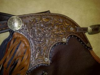 Rockink K Ranch Hand Carved Leather Chinks Custom Made