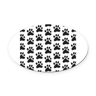 Paw Print Pattern Oval Car Magnet