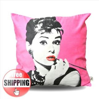 MODERN Pink Print Audrey Hepburn Picture POP ART PILLOW CASE CUSHION