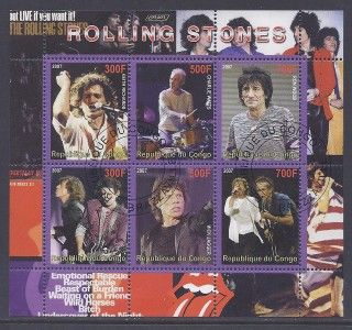 Rolling Stones Mick Jagger Keith Richards Music Congo Souvenir Sheet