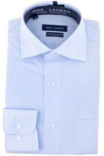 Max Lauren Light Blue Pinstripe Dress Shirt