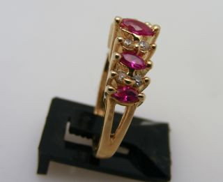 14kt Solid Yellow Gold Ruby Diamond Waterfall Ring 14k