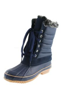 Khombu New Boston Bean Navy Faux Fur Lined Pac Waterproof Boots Shoes