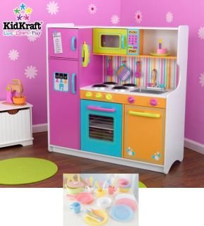 Big Bright Kids Pretend Play Kitchen Set w 27 Piece Dish Set