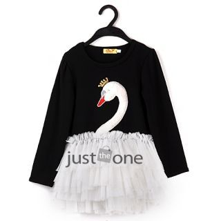 Children Kids Girl Long Sleeve Princess Cake Swan Tutu Dress Dancewear