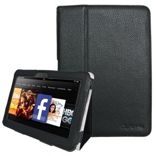 Kindle Fire HD 7 Tablet Slim Fit Leather Case Cover Black with Stand