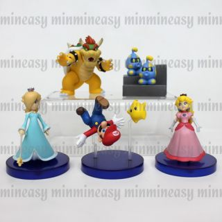 Wii Nintendo Super Mario Bros Galaxy Bowser Rosalina Peach Figure Set