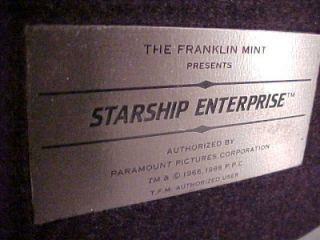 **STARSHIP ENTERPRISE*PEWTER by The Franklin Mint 1988 Model & Stand