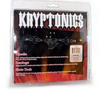 Set 4 Kryptonics Skateboard Wheels 54mm Bearings ABEC1 Tool Red Black