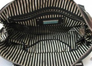 Gwen Stefani L.A.M.B. Black & Gray Signature Stripe Leather Bowler Bag