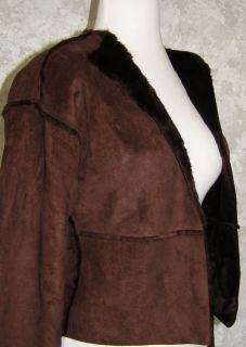 Banana Republic Dark Brown Soft Faux Fur Suede Jacket XS Warm Winter