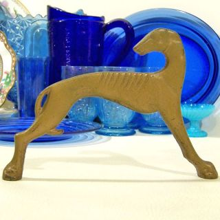 Art Deco Free Standing Greyhound Whippet Dog Large Tray Handle Gilt