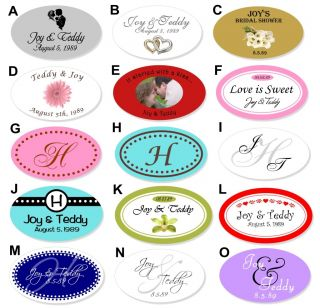 24 Oval Labels Personalized Wedding Bridal Favor Tag DD