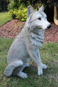 New Large Sitting White Grey Wolf wolve Statue Sculpture Figurine 21