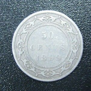 1899 Victoria New Foundland Silver 50 Cent Coin Half Dollar