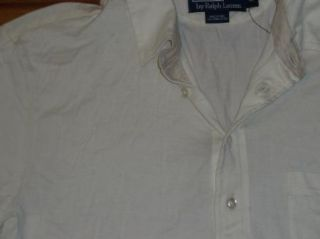 NWOT POLO Ralph Lauren Thin Pima Cotton IVORY SHORT SLEEVE SHIRT~Mens