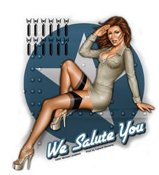 Sexy We Salute You Army Pin Up Girl Sticker Vinyl Decal