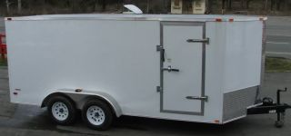 New 7 x 16 White V Nose Enclosed Lawn Mower Cargo Trailer