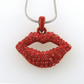Valentines Day Love Red Sexy Lips Necklace Chain Best Friend BFF Lady