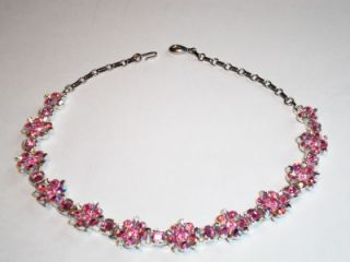 Jewelry 17 Lisner Pink Rhinestone Crystal AB Flower Necklace
