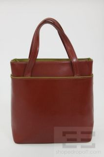 Longchamp Brown Leather Green Monogram Tote Handbag