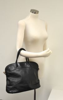 Longchamp Black Leather Bowler Bag Authentic $830 AU Sultan Pre Owned