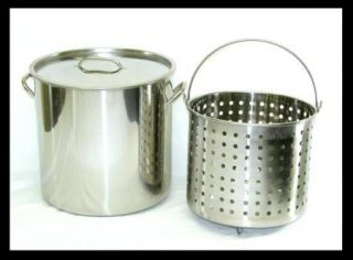 13 Gal) Stainless Steel Stock Pot with Raised Deep Steamer/Boil Basket