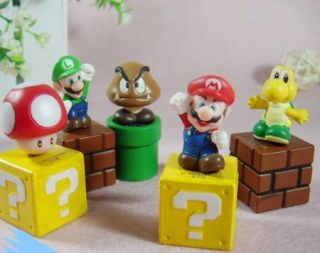 Super Mario Bros Brothers 5 Pcs PVC Figure Cake Topper