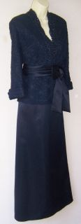 Marina Navy Beaded Lace Formal Evening Gown Dress 20W