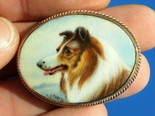 Antique Victorian Hand Painted Collie 9ct Gold Brooch