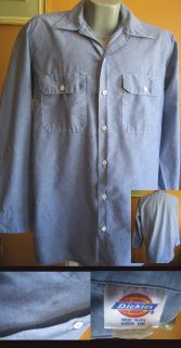 Dickies Chambray Blue Denim Work Shirt Large 16 5 Made in USA