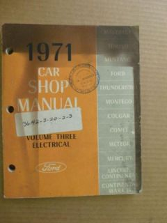 1971 Ford Car Shop Manual Mercury Lincoln Mustang Vol 3 Electrical
