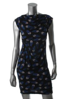 Diane Von Furstenberg New Mattie Blue Silk Printed Cap Sleeves Casual
