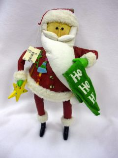 Vintage Von Maur Paper Mache Painted Cloth Folksy Santa Claus Ornament