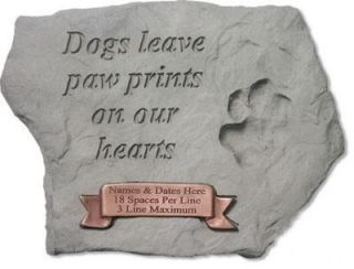 Dogs Leave Paw Prints   Engravable Memorial Stone