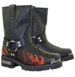 Mens Flame Harness Motorcycle Biker Black Leather Boots