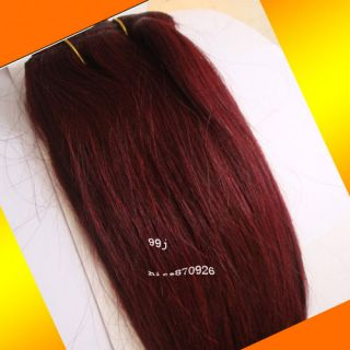 18 26 Real Human Hair Straight Weft 99J Red Wine Color 100g Width