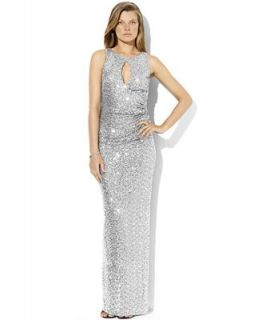 Lauren Ralph Lauren Dress, Sleeveless Sequin Mesh Gown