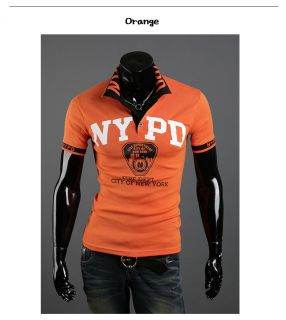 Mens Casual Slim Fit NYPD Design Short Sleeve Polo Collar T Shirts Top