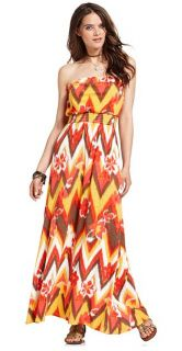 Lucky Brand Jeans Womens Maxi Dress Melanie Ikat Print Strapless M New