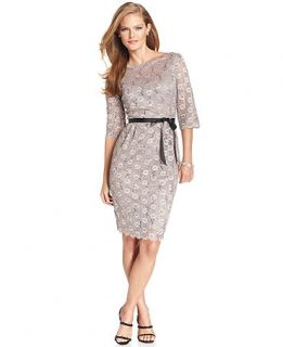 Alex Evenings Petite Dress, Three Quarter Sleeve Lace Belted Sheath