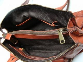 Fossil Fifty Four Brown Leather Handbag Satchel Hobo Purse
